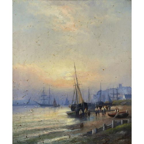 633 - WILLIAM LANGLEY (FL LATE 19TH CENTURY)  SUNSET LOW TIDE; FISHING LUGGERS ASHORE  a pair, both signed...