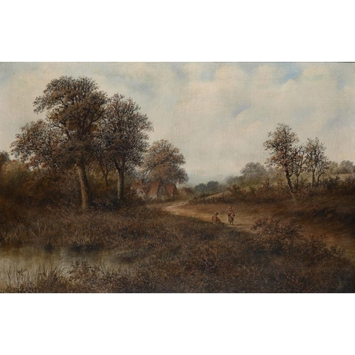 635 - MELLINS, 19TH/20TH CENTURY LANDSCAPE WITH FIGURES signed, oil on canvas, 49.5 x 75cm