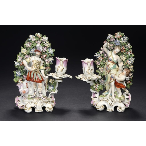 65 - A PAIR OF DERBY VENUS AND MARS FIGURAL CANDLESTICKS, C1780   with bocage, 21cm h