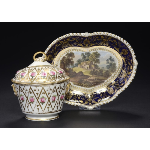 66 - A DERBY OVAL SUCRIER AND COVER, C1805  painted with single roses, 15.5cm h, puce painted mark and 62...