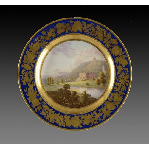67 - A   DERBY PLATE, C1795-1800  painted with a view of Chatsworth House, the Great Fountain and Hunting...