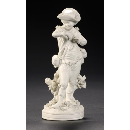 68 - A DERBY BISCUIT FIGURE OF SPRING FROM THE FRENCH SEASONS, C1780  17cm h, incised mark and N123...