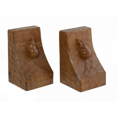 7 - <p>A PAIR OF ROBERT 'MOUSEMAN' THOMPSON OAK BOOK ENDS, SECOND HALF 20TH C  15cm h, with carved mouse...