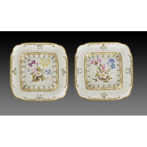 71 - A PAIR OF SWANSEA MOULDED CUSHION SHAPED DESSERT DISHES, C1815-17  painted by William Pollard with a...