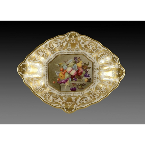 73 - A DERBY DESSERT DISH, C1820  painted by Thomas Steel with a panel of fruit, 27.5cm w, red painted ma...