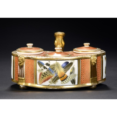 74 - A CHAMBERLAIN WORCESTER ORANGE GROUND INKSTAND, C1815 very finely painted with three rectangular pan...