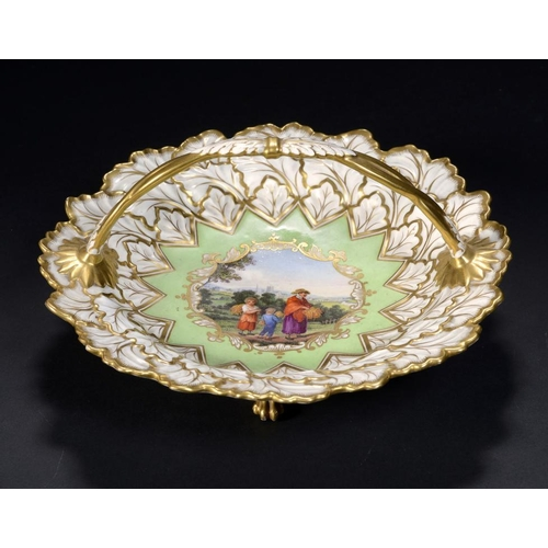 77 - A FLIGHT, BARR & BARR CARD BASKET, C1825-30 painted with a gleaner and two children, the River Sever...