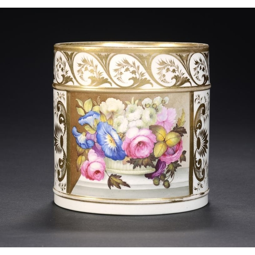 78 - A DERBY PORTER MUG, C1810  finely painted with a panel of flowers, 12.5cm h, red painted mark and 77...