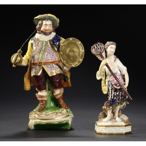 80 - A DERBY FIGURE OF JAMES QUINN AS FALSTAFF AND A CONTEMPORARY DERBY FIGURE OF WATER FROM THE FOUR ELE...