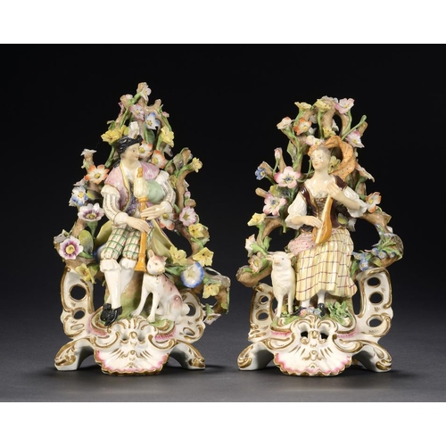 82 - A PAIR OF DERBY FIGURES OF MANDOLIN AND BAGPIPE PLAYERS, C1810  enamelled in a colourful palette, 23...
