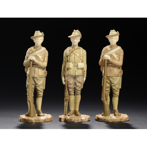 88 - <p>THREE ROYAL WORCESTER FIGURES OF SOLDIERS OF THE BOER WAR - CITY IMPERIAL VOLUNTEER AND IMPERIAL ...
