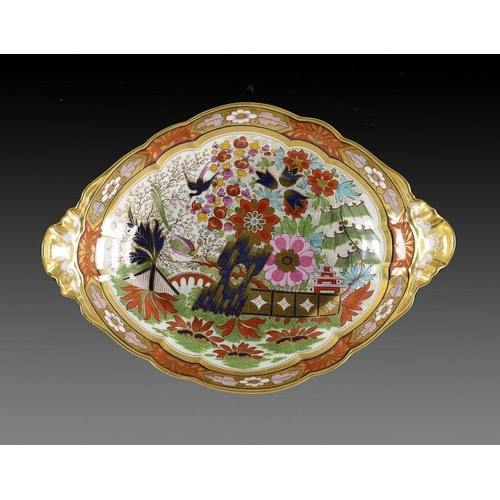 88 - A BARR, FLIGHT & BARR JAPAN PATTERN DISH, C1810  with shell handles, 34.5cm, impressed and printed m...