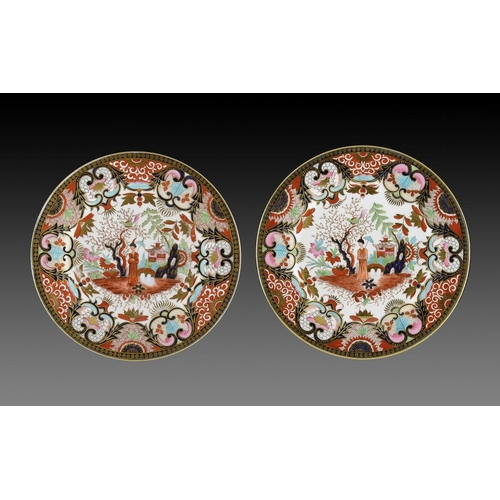 92 - A PAIR OF FLIGHT, BARR & BARR JAPAN PATTERN PLATES, C1820  21cm diam, impressed and printed marks...