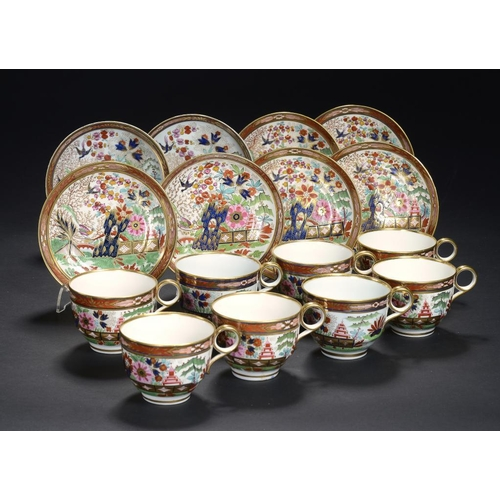94 - EIGHT WORCESTER JAPAN PATTERN TEACUPS AND SAUCERS, THE PAIR FLIGHT & BARR, C1800-04, THE OTHERS BARR...