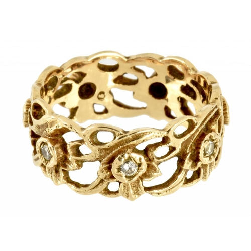 14 - <p>A  FOLIATE OPENWORK DRESS RING  with diamonds at intervals, in gold,  marked 14K, 6g, size P</p><...