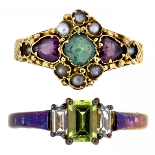 2 - <p>A VICTORIAN RUBY, EMERALD AND SPLIT PEARL RING in 15ct gold, Birmingham 1874, 2.1g, size M and an...
