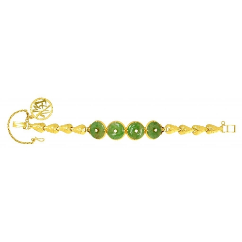 20 - <p>A SOUTH EAST ASIAN DIAMOND, JADEITE AND GOLD BRACELET  marked in Chinese, mounted with a gold cha...