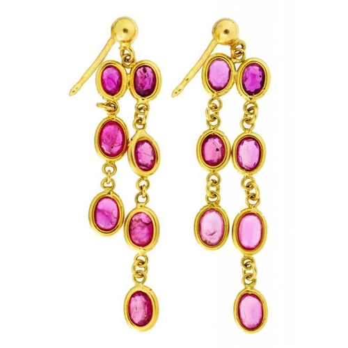 21 - <p>A PAIR OF RUBY ASYMMETRICAL  EARRINGS  in gold, 4cm, unmarked, 3.3g</p><p></p>...