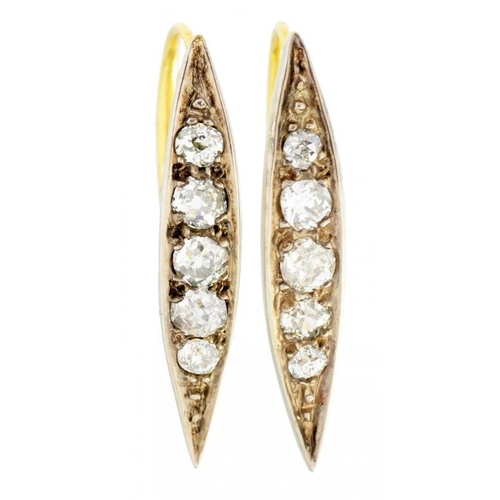 22 - <p>A PAIR OF DIAMOND EARRINGS of pointed form with old cut diamonds, hinged fittings, 2.5cm h, unmar...