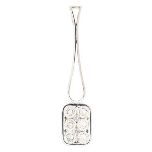 24 - A DIAMOND PENDANT  of mallet shape, the head set with six evenly sized round brilliant cut diamonds ...