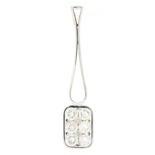24 - <p>A DIAMOND PENDANT  of mallet shape, the head set with six evenly sized round brilliant cut diamon...