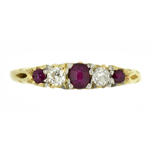 28 - <p>A RUBY AND DIAMOND FIVE STONE RING  with old cut diamonds, in gold marked 18ct, 2.7g, size J</p><...
