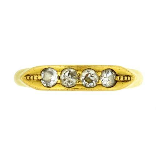 29 - <p>A DIAMOND FOUR STONE RING  with round brilliant cut diamonds, in gold, marked in  Chinese, 2.5g, ...