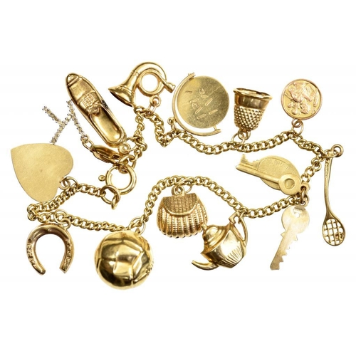 3 - <p>A GOLD CHARM BRACELET  variously marked, 13.5g</p><p></p>...