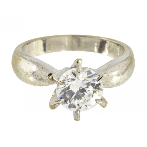 4 - <p>A DIAMOND SIMULANT SOLITAIRE RING  in white gold marked 18K, 7.1g, size M</p><p></p>...