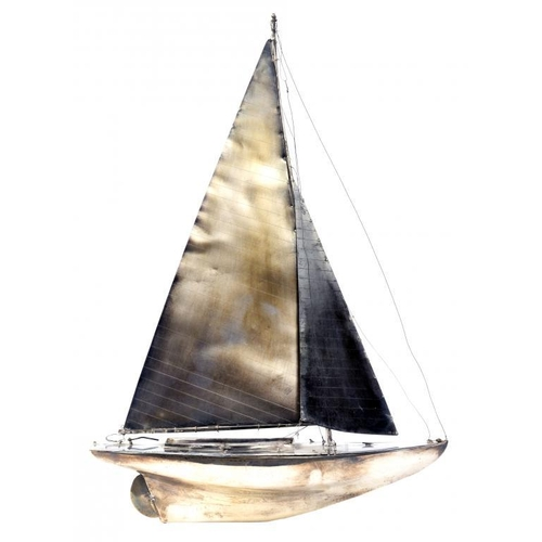 509 - A GEORGE V SILVER MODEL OF A RACING YACHT  44cm h, on silver mounted wood stand, H S  Benzies of Cow...