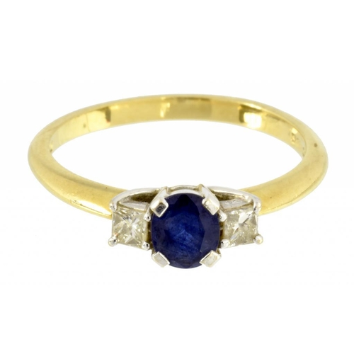 6 - <p>A SAPPHIRE AND DIAMOND THREE STONE RING  the larger round sapphire flanked by princess cut diamon...