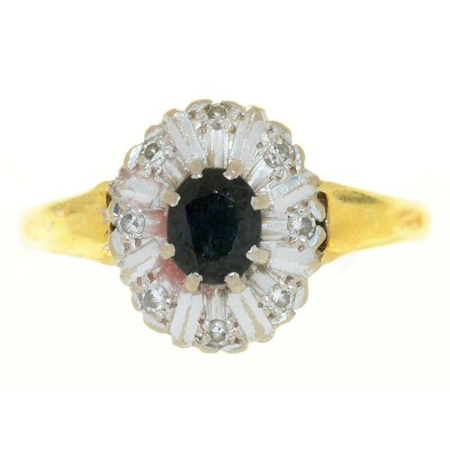 1 - <p>A SAPPHIRE AND DIAMOND RING, IN GOLD MARKED 18CT, 4G, SIZE M</p><p></p>...