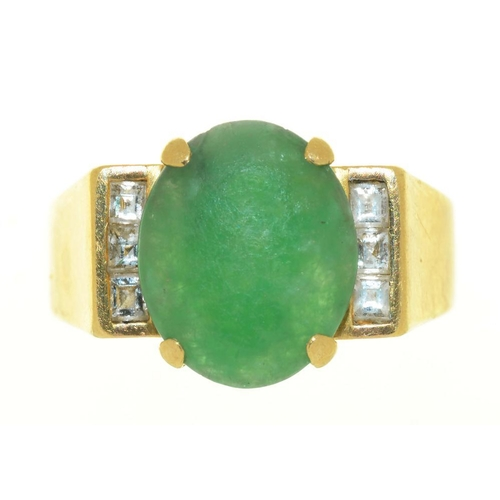 14 - <p>A JADE AND DIAMOND RING, IN GOLD MARKED 18K 750, 7.5G, SIZE M</p><p></p>...