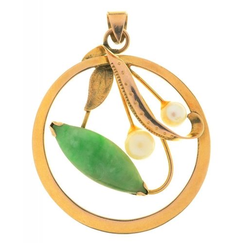 19 - <p>A JADE AND PEARL PENDANT, IN GOLD MARKED 14K, 4 X 3 CM APPROX, INCLUDING BAIL, 2.5G</p>...