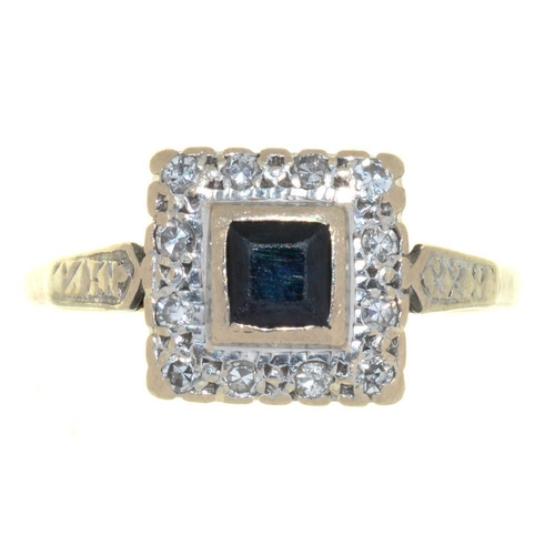 10 - <p>A SAPPHIRE AND DIAMOND RING, IN GOLD MARKED 18CT, 5G, SIZE P</p><p></p>...