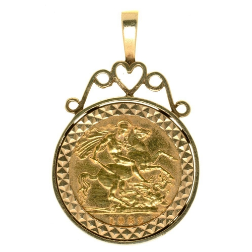 16 - <p>GOLD COIN. HALF SOVEREIGN, 1982, IN GOLD PENDANT MOUNT, 6G</p><p></p>...