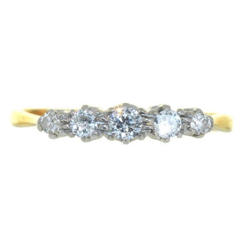 2 - <p>A FIVE STONE DIAMOND RING, THE BRILLIANT AND SINGLE CUT DIAMONDS 0.45CT APPROX, IN GOLD MARKED 18...