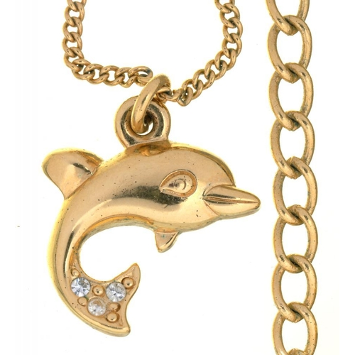 20 - <p>COSTUME JEWELLERY. A CHRISTIAN DIOR DOLPHIN PENDANT ON CHAIN, 1.5 X 2 CM APPROX</p><p></p>...