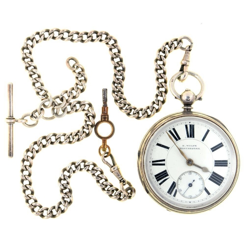 24 - <p>AN ENGLISH SILVER LEVER WATCH, H.WOLFE, MANCHESTER, NO 140862, BIRMINGHAM 1890, CASEMAKER AG, ON ...