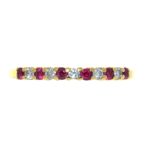27 - <p>A RUBY AND DIAMOND RING IN 18CT GOLD, 2G, SIZE P</p><p></p>...