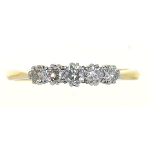 3 - <p>A FIVE STONE DIAMOND RING, THE BRILLIANT CUT DIAMONDS 0.5CT APPROX, IN GOLD MARKED 18CT&PT, 3G, S...