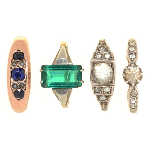 5 - <p>A SAPPHIRE AND SEED PEARL RING IN 9CT GOLD, BIRMINGHAM 1894, AND THREE ART DECO PASTE SET RINGS, ...