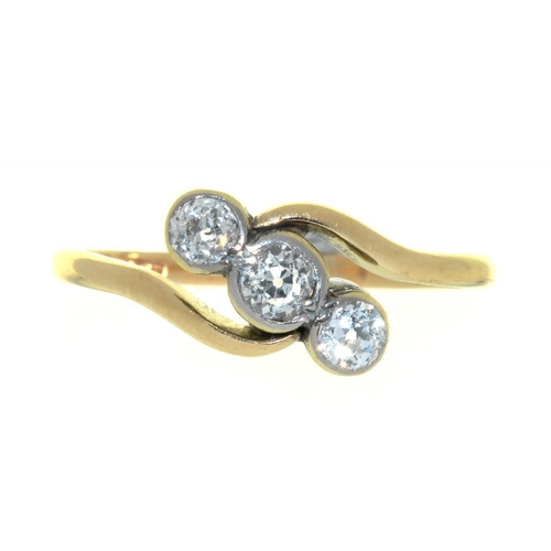 8 - <p>A VICTORIAN DIAMOND CROSSOVER RING, THE RUBOVER SET OLD CUT DIAMONDS 0.45CT APPROX, 2G, SIZE Q�</...
