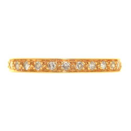 14 - <p>A DIAMOND ETERNITY RING, IN GOLD, UNMARKED, SIZE S, 3G</p><p></p>...
