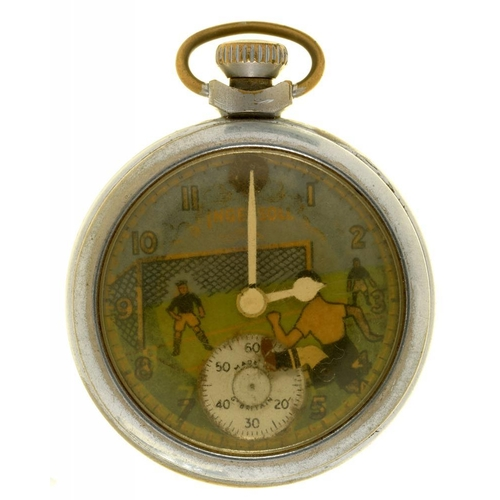 17 - <p>AN INGERSOLL CHROME WATCH, C1950S, FOOTBALL DESIGN DIAL</p><p></p>...
