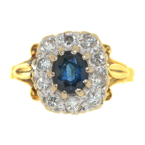 19 - <p>A SAPPHIRE AND DIAMOND RING, IN GOLD, UNMARKED, SIZE N, 4G</p><p></p>...