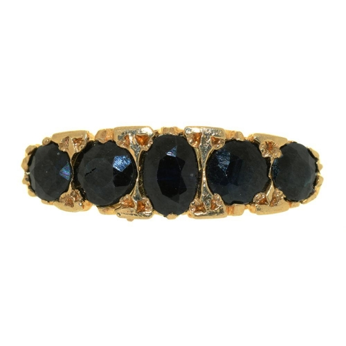 24 - <p>A FIVE STONE SAPPHIRE RING, THE OVAL SAPPHIRES APPROX 2CT, IN 9CT GOLD, BIRMINGHAM 1994, SIZE M, ...