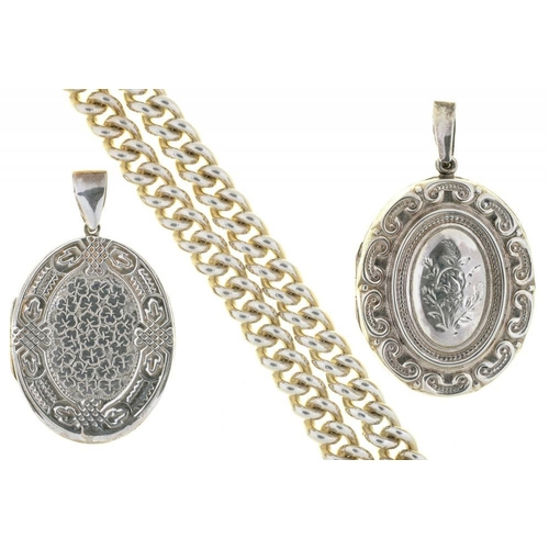 28 - <p>TWO CHASED SILVER LOCKETS AND A CURB LINK SILVER CHAIN, 169G</p><p></p>...