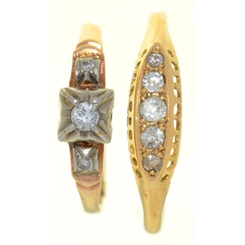 3 - <p>TWO DIAMOND RINGS, IN GOLD MARKED 18CT, SIZES O & W, 4G</p><p></p>...