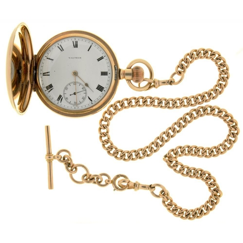 30 - <p>A WALTHAM GOLD PLATED HUNTING CASED KEYLESS LEVER WATCH, WITH UNUSUAL PHOTOGRAPHICALLY PRINTED PO...